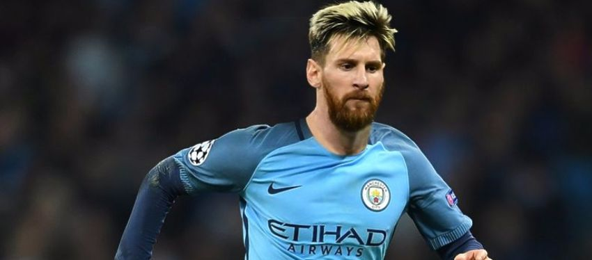 Así luciría Messi con la camiseta del Manchester City. Foto: Mirror.