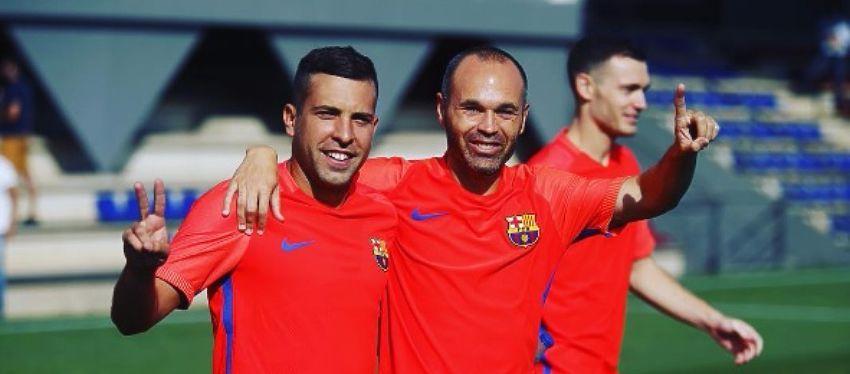 Jordi Alba y Andrés Iniesta fueron dos de los internacionales que volvieron al trabajo. Foto: Instagram.