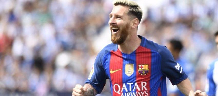 Messi celebra uno de los dos goles anotados frente al Leganés. Foto: LaLiga.