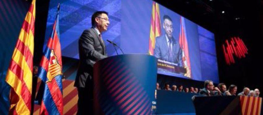 Josep María Bartomeu durante su intervención en el Congreso Mundial de Peñas | Foto: @FCBarcelona