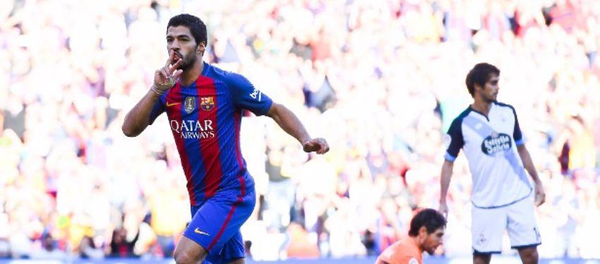 Suárez celebra el 3-0 ante el Deportivo de la Coruña. Foto: @ligadecampeones.