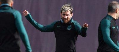 Leo Messi, en un entrenamiento con el Barça. Foto: Twitter.
