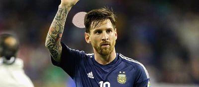 Messi celebra un gol con Argentina. Foto: Twitter.