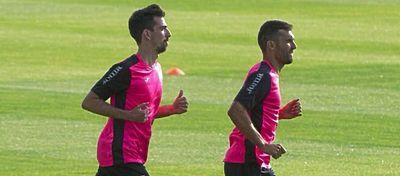 Cuenca y Barral, en un entrenamiento con el Granada. Foto: Twitter.