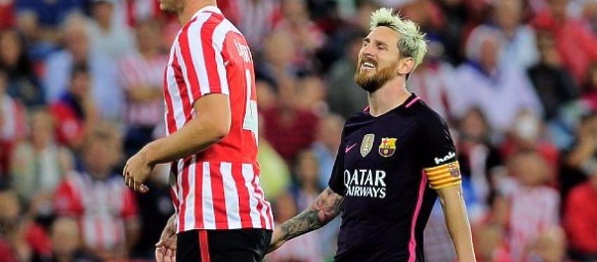 Messi, se lamenta en la segunda jornada de Liga frente al Athletic. Foto: Twitter.