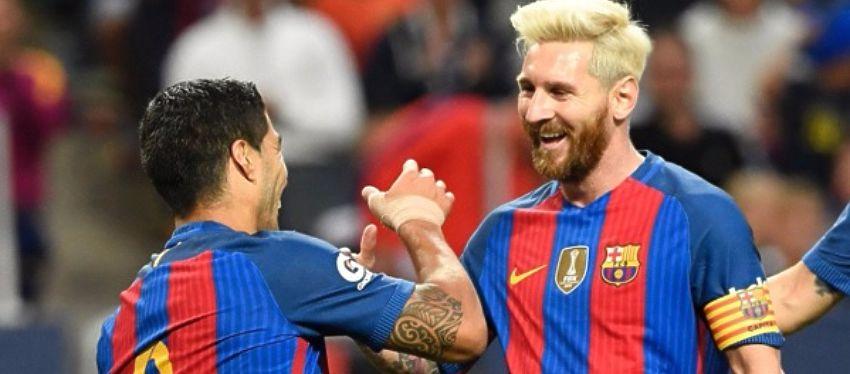 Suárez y Messi celebran la victoria del Barça ante el Betis. Foto: Twitter.