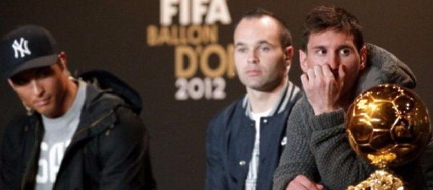 Cristiano Ronaldo, Iniesta y Messi en la edición del año 2012. Foto: @nolosabiasfut.