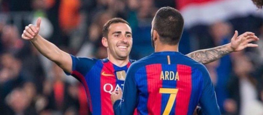 Alcácer celebra su gol con Arda Turan. Foto: Twitter.