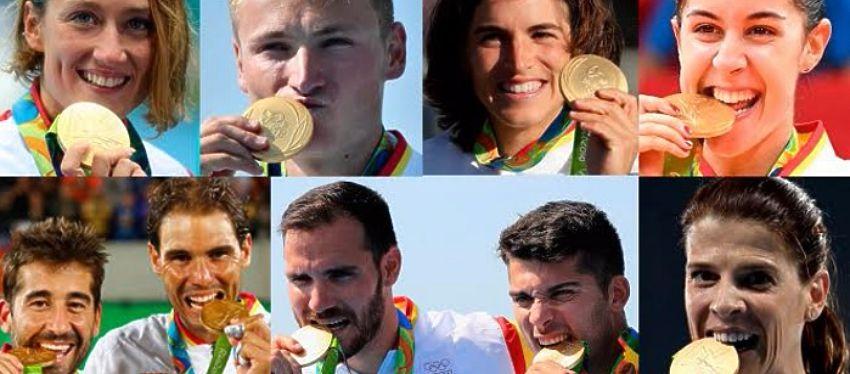 Los españoles que 'mordieron' el oro en Rio de Janeiro. Foto: Twitter.