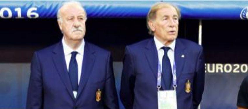 Vicente del Bosque junto a Toni Grande en esta Eurocopa