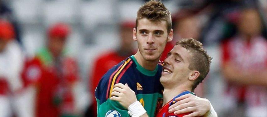 De Gea y Muniaín, con la selección española. Foto: Twitter.