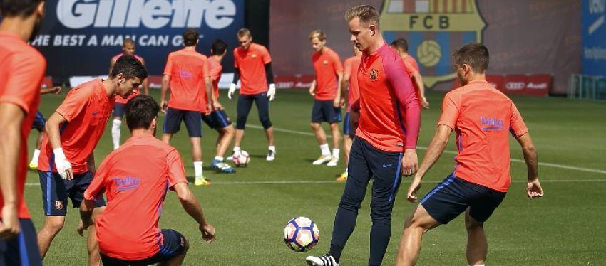 El Barça se ejercitó pensando ya en el Sporting de Gijón. Foto: FC Barcelona.