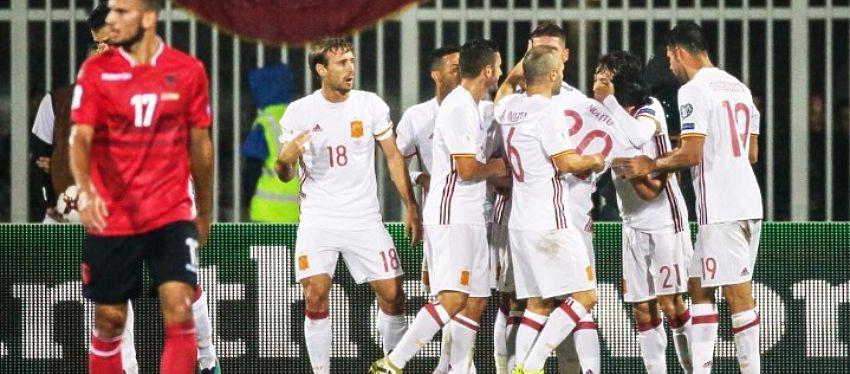 España gana con solvencia a Albania y se coloca líder del grupo G