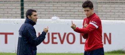 Ernesto Valverde y Ander Herrera, en el año 2013. Foto: @futbolenlaces.