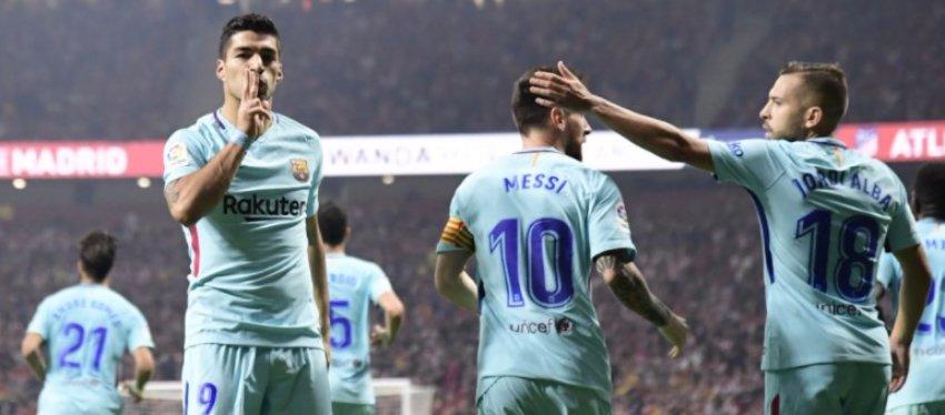 Suárez, Messi y Alba celebran el empate ante el Atleti. Foto: @optajose.