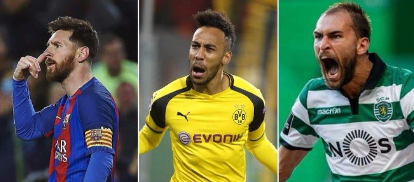 Messi, Aubameyang y Bas Dost lideran la clasificación de la Bota de Oro.