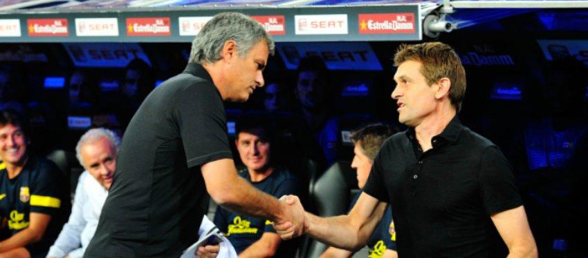 Mourinho y Tito Vilanova se reconciliaron un año después. Foto: Goal.