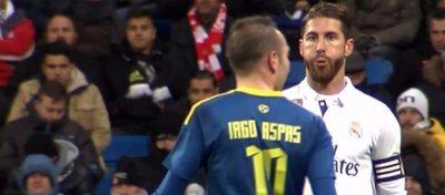 El momento en el que Sergio Ramos escupe a Aspas. Foto: Movistar Plus.