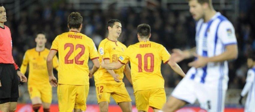 El Sevilla se quitó la espina del duelo de Copa y goleó a la Real Sociedad. Foto: Sevilla FC.