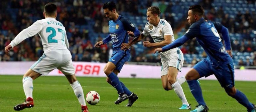 El Fuenlabrada, anoche en el Bernabéu: Foto: @sport.