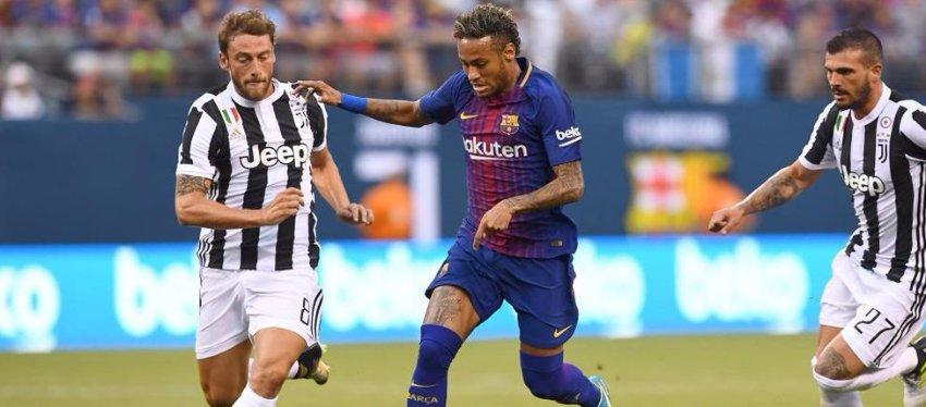 Neymar, perseguido por varios jugadores de la Juventus. Foto: Twitter.