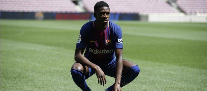 Dembelé, en su presentación con el Barça. Foto: Twitter.