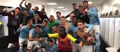 El vestuario del Celta, eufórico tras su pase a semifinales. Foto: Twitter.