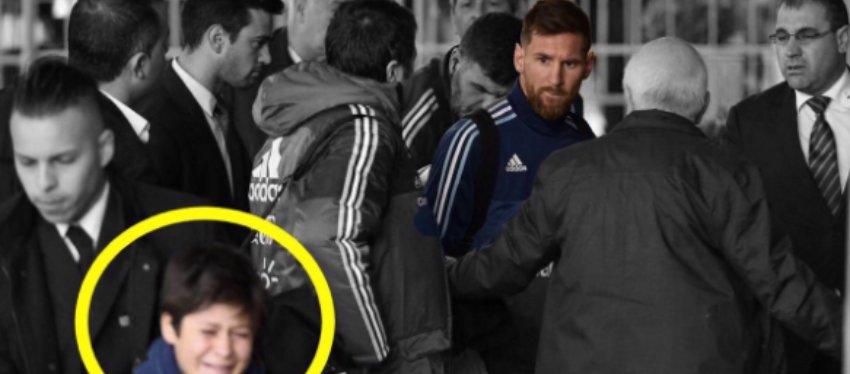 Messi, que vio el disgusto del pequeño Luciano, quiso cumplir su sueño. Foto: Twitter.