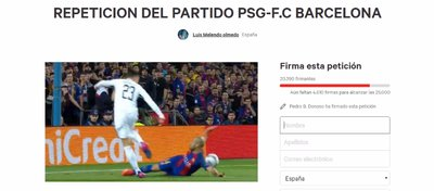 Un aficionado reúne 80.000firmas para repetir el Barça-PSG