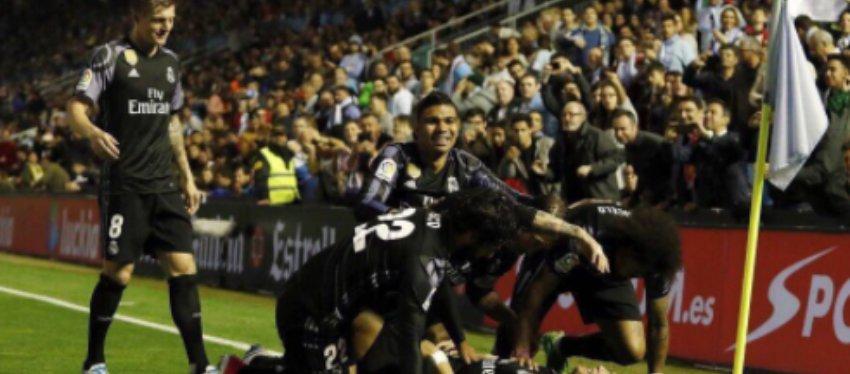 Foto: Los jugadores del Real Madrid celebran el gol de Cristiano Ronaldo