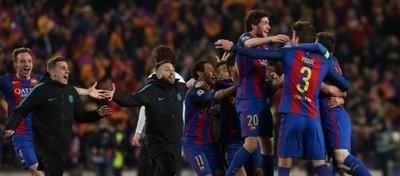 Los jugadores del Barça celebraron la victoria como si se tratara de un título. Foto: Twitter.