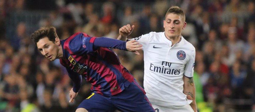 Messi y Verrati, en un duelo de Champions entre el Barça y el PSG. Foto: Mundo Deportivo.