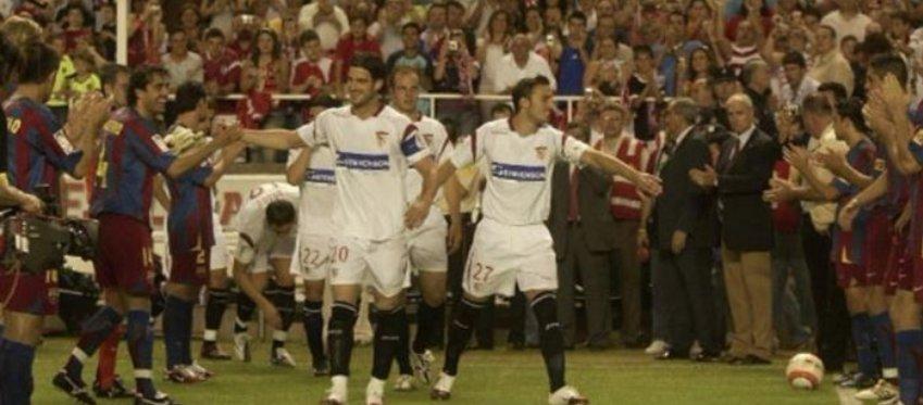 El Barça ya le hizo el pasillo al campeón de la UEFA en 2006. Foto: Eurosport.