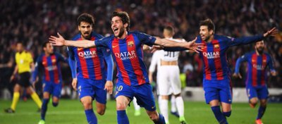 Sergi Roberto, el nuevo héroe del Camp Nou. Foto: Twitter.