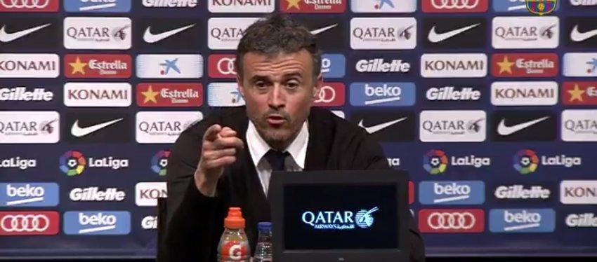 El asombro de Luis Enrique en rueda de prensa. Foto: Barça TV.