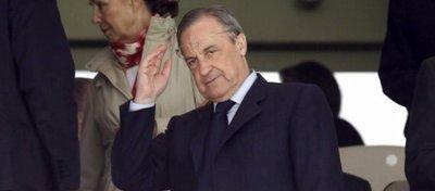 Florentino Pérez, en el palco del Real Madrid. Foto: Twitter.