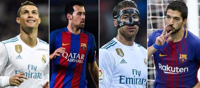 Ronaldo, Busquets, Ramos y Suárez forman parte de este poco querido ranking.