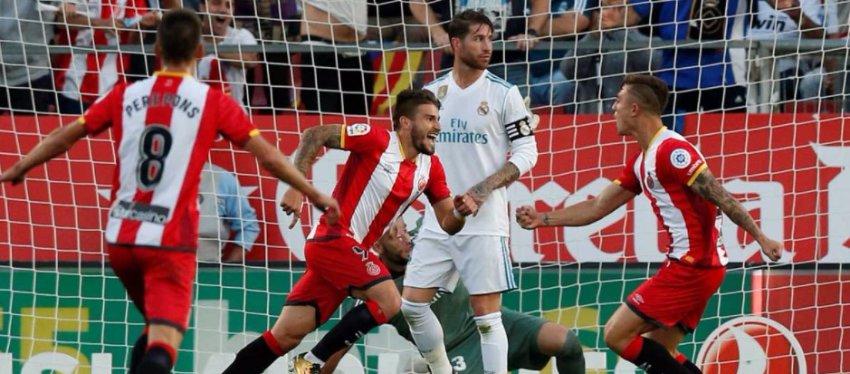 El Girona celebró por todo lo alto su victoria ante el Madrid. Foto: SportYou.