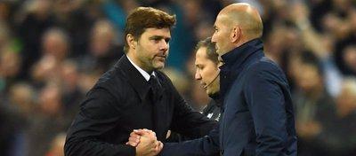 Pochettino y Zidane se saludan tras el partido del pasado miércoles. Foto: Twitter.