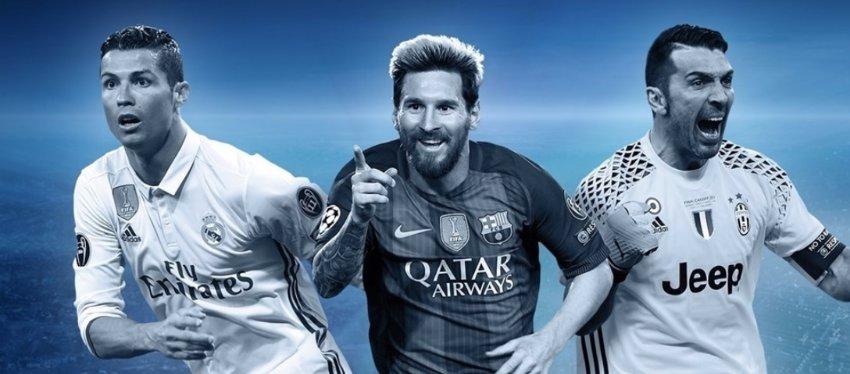 Ronaldo, Messi y Buffon: tres de los grandes protagonistas esta temporada en la Champions. Foto: UEFA.