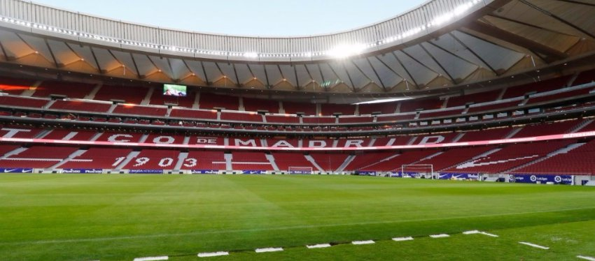 Así luce el césped del Wanda Metropolitano a pocas horas de su estreno. Foto: Twitter.