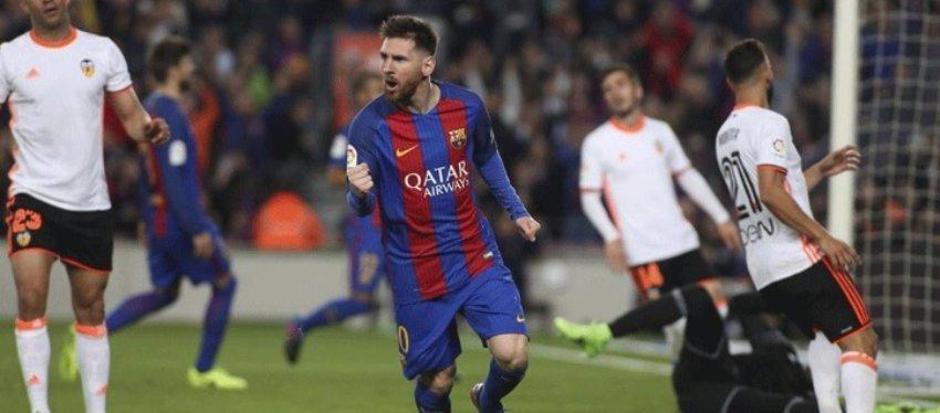 Messi volvió a reencontrarse con el gol ante el Valencia. Foto: Twitter.