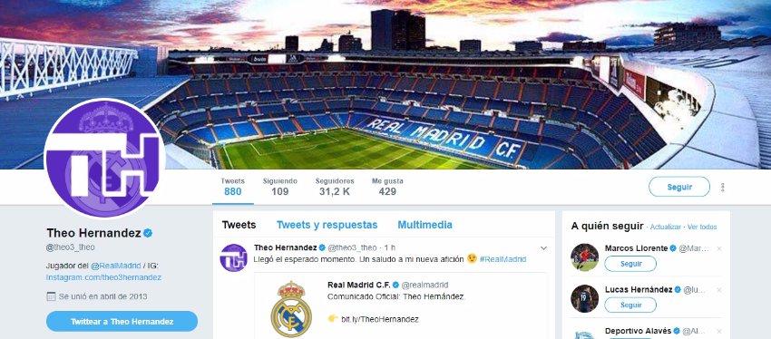 Theo Hernández tiñe su Twitter de blanco