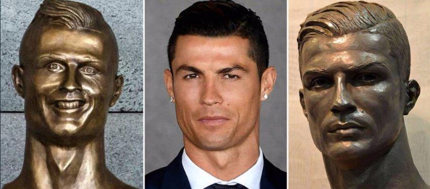 La enorme diferencia entre ambos bustos. Foto. Twitter.