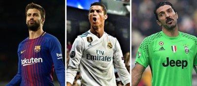 Foto: Gerard Piqué, Cristiano Ronaldo y Gianluigi Buffon