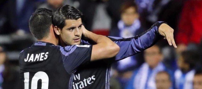 Morata y James podrían tener sus últimos minutos en el Bernabéu. Foto: Twitter.