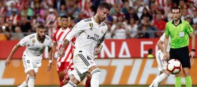 Ramos, el pasado domingo en Girona. Foto: Twitter.