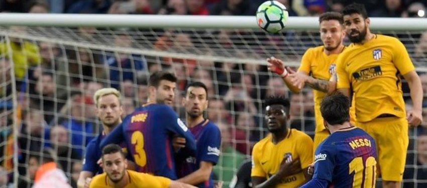 Messi, momentos antes de su gol al Atlético de Madrid.