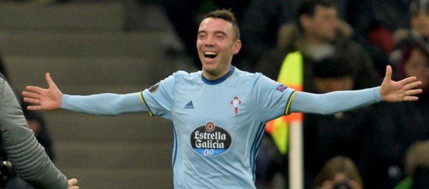 Iago Aspas celebra un gol con el Celta. Foto: Twitter.