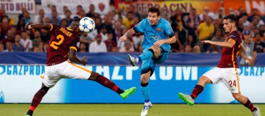 Imagen del último duelo entre Barça y Roma. Foto: Sportsnet.